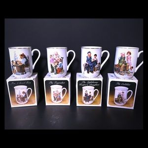 Complete Set of 4 Norman Rockwell Mug Series